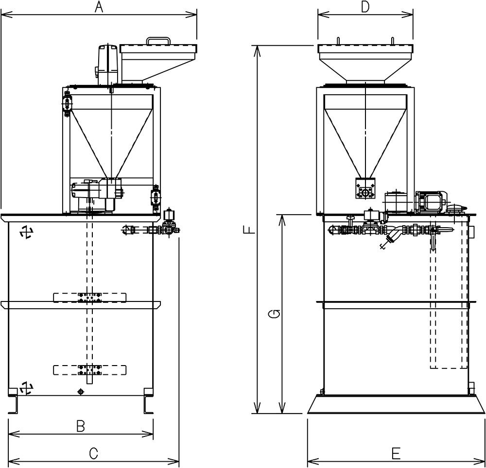 凝集剤自動溶解装置寸法図